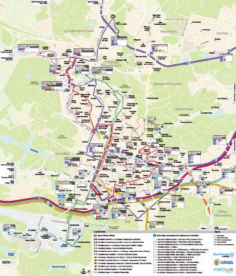 Plan des transports de Versailles