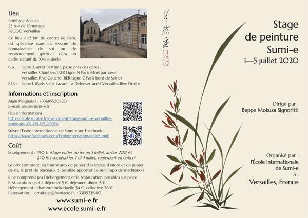 Brochure Sumi-e Versailles juillet 2020 de l'Ecole Internationale de sumi-e à Versailles
