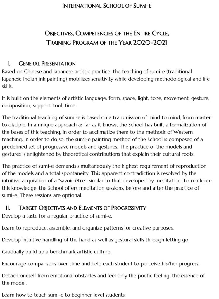 Program International School of Sumi-e 2020-2021 details