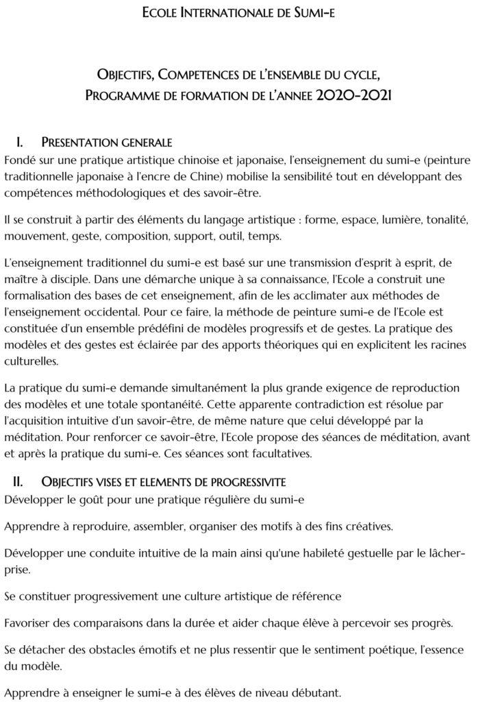 Programme Ecole Internationale de Sumi-e 2020-2021 détail