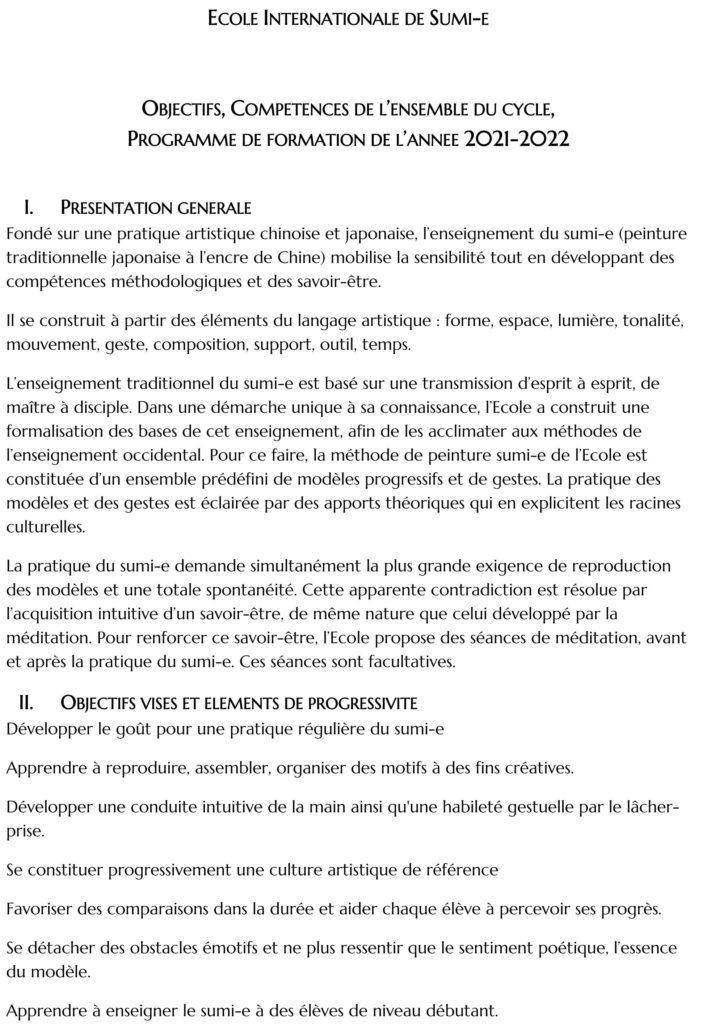 Programme Ecole Internationale de Sumi-e 2021-2022 détail