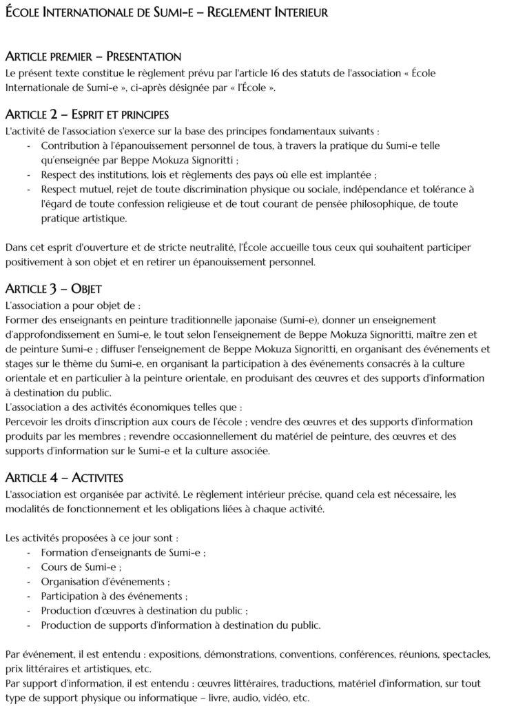 Règlement Intérieur Ecole Sumi-e 2021-2022