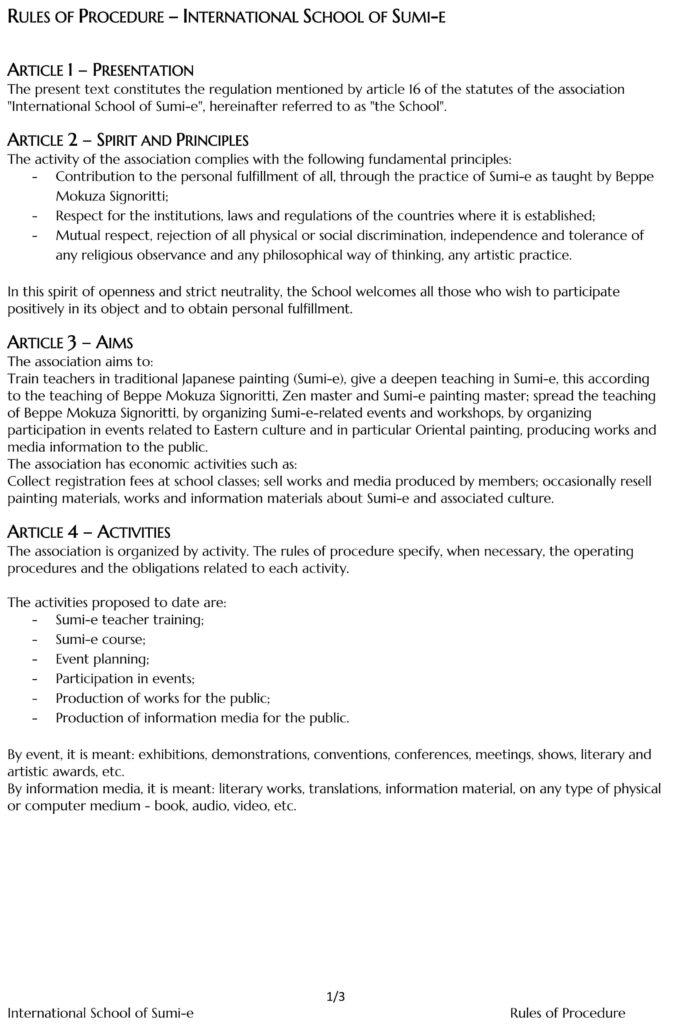Rules of Procedure Sumi-e School 2021-2022